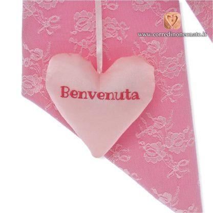 Cuore pendente rosa