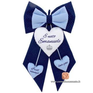 Fiocco nascita Emanuele blu