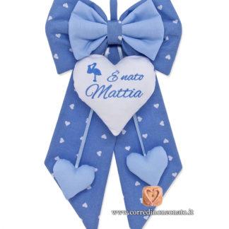 Fiocco nascita Mattia azzurro cicogna