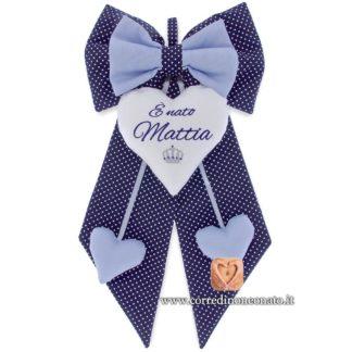 Fiocco nascita Mattia blu pois