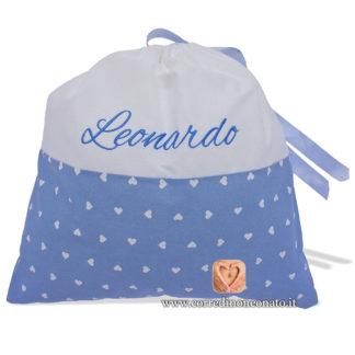 Sacco nascita Leonardo azzurro cuori