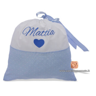 Sacco nascita Mattia ricamo cuore