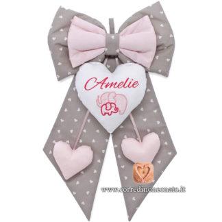 Fiocco nascita Amelie grigio