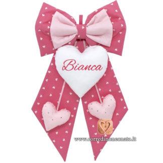 Fiocco nascita Bianca rosa