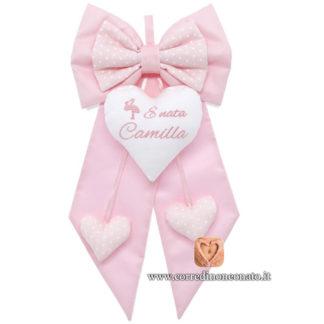 Fiocco nascita Camilla rosa