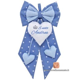 Fiocco nascita Andrea azzurro
