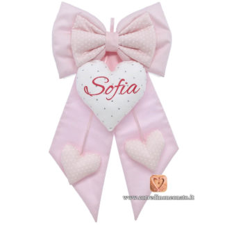 Fiocco nascita Sofia rosa brillantini