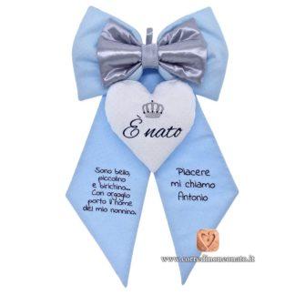 Fiocco nascita Antonio azzurro frase