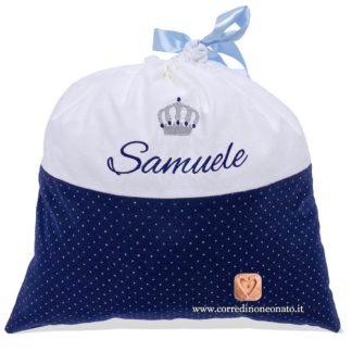 Sacco nascita Samuele blu glitterato