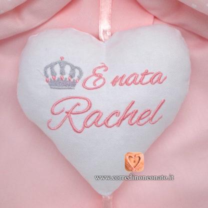 Ricamo frase nascita Rachel
