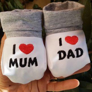 Babbucce neonato love mum dad