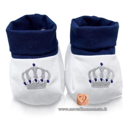 Babbucce neonato ricamo corona