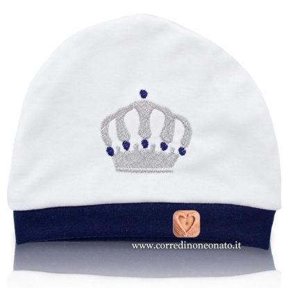 Cappellino neonato ricamo corona