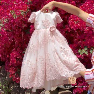 Completo battesimo bimba in pizzo rosa antico