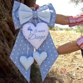 Fiocco nascita Diego azzurro
