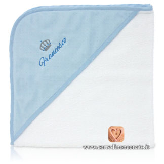 Accappatoio neonato Francesco azzurro glitterato