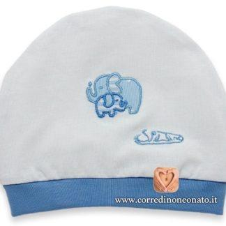 Cappellino neonato azzurro elefanti