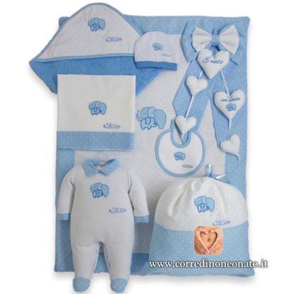 Corredino neonato azzurro a pois ricamo elefanti