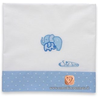 Lenzuolo neonato azzurro pois elefanti